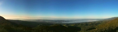 Full panorama: This morning's view from Inspiration Point in Santa Barbara, CA. Overlooking the city and the mesa and out towards the ocean and the Channel Islands. This view never gets old.