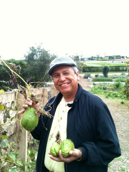 This photo of Saul was taken this morning in our Organic Gardens.